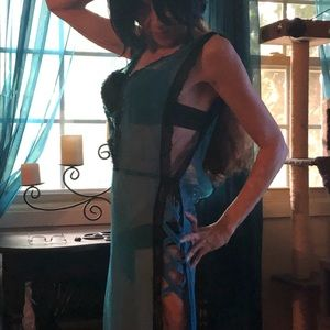 Other - Teal Blue and black lacy sheer long nightie